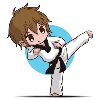 Personnage de dessin animé mignon garçon takwando.