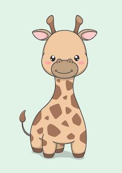 Personnage de dessin animé mignon girafe