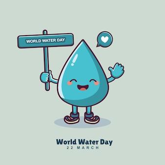 Personnage de dessin animé mignon goutte d'eau tenant la bannière de la journée mondiale de l'eau