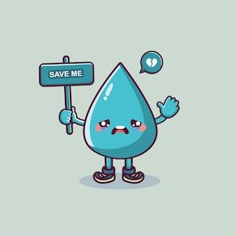 Personnage de dessin animé mignon goutte d'eau tenant la bannière mondiale de l'eau avec le concept d'économie d'eau