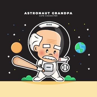Personnage de dessin animé mignon de grand-père astronaute jouait au baseball