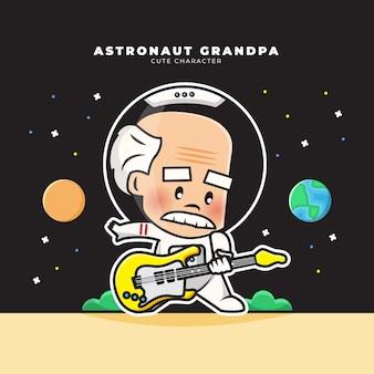 Personnage de dessin animé mignon de grand-père astronaute jouait de la guitare
