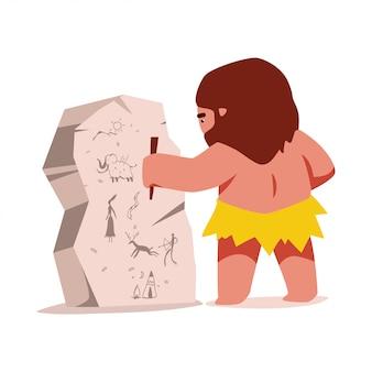 Personnage de dessin animé mignon homme des cavernes isolé sur fond blanc.