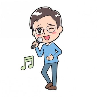 Personnage de dessin animé mignon homme chanson chant