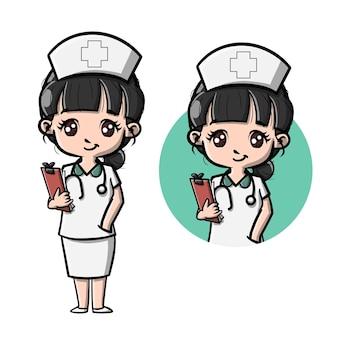 Personnage de dessin animé mignon infirmière