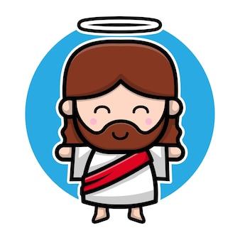Personnage de dessin animé mignon de jésus-christ