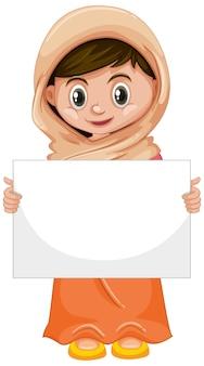 Personnage de dessin animé mignon jeune fille avec une pancarte ou une affiche