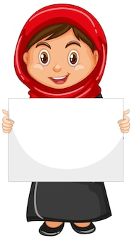 Personnage de dessin animé mignon jeune fille tenant une bannière vierge