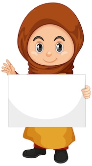 Personnage De Dessin Animé Mignon Jeune Fille Tenant Une Bannière Vierge Vecteur gratuit