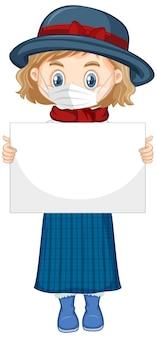 Personnage de dessin animé mignon jeune fille tenant une pancarte vierge