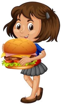 Personnage de dessin animé mignon jeune fille