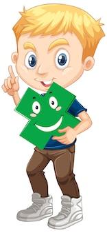 Personnage de dessin animé mignon jeune garçon tenant une forme mathématique
