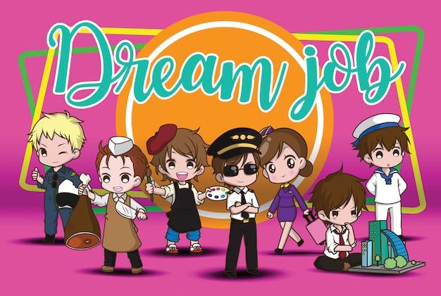 Personnage de dessin animé mignon job de rêve.