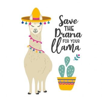 Personnage de dessin animé mignon lama avec citation de motivation