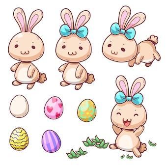 Personnage de dessin animé mignon lapin