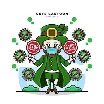 Personnage de dessin animé mignon de leprechaun st patricks day concept holding stop pandemic covid-19 sign