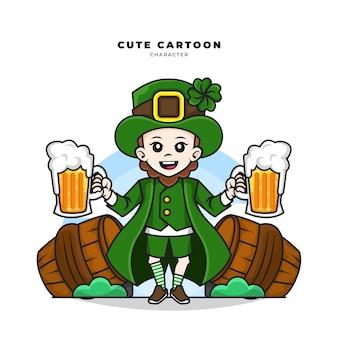 Personnage de dessin animé mignon de leprechaun st patricks day concept tenant de la bière dans un verre