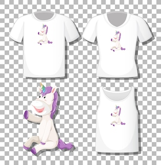 Personnage de dessin animé mignon licorne avec ensemble de chemises différentes isolées