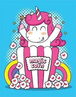 Personnage de dessin animé mignon de licorne pour tshirt