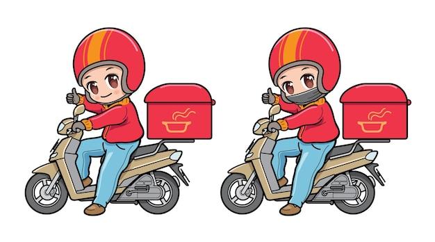 Personnage de dessin animé mignon d'un livreur de nourriture