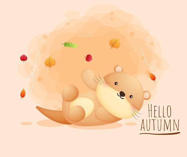 Personnage de dessin animé mignon loutre heureux automne