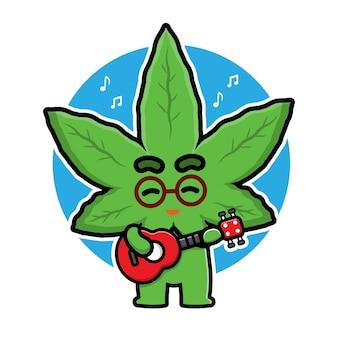 Personnage de dessin animé mignon de marijuana jouant de la guitare