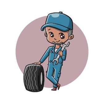 Personnage de dessin animé mignon mécanicien