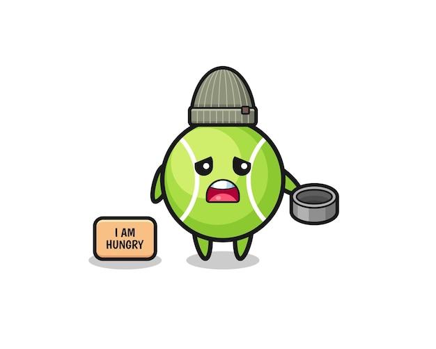 Personnage de dessin animé mignon de mendiant de tennis, conception mignonne