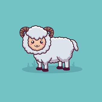 Personnage de dessin animé mignon de mouton