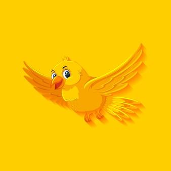 Personnage de dessin animé mignon oiseau jaune