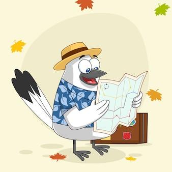 Personnage de dessin animé mignon oiseau de neige avec valise tenant une carte. illustration avec fond