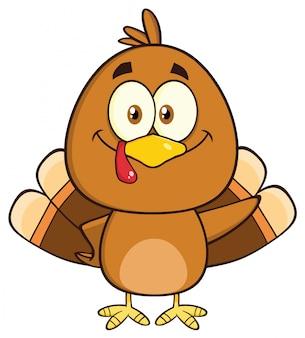 Personnage de dessin animé mignon oiseau turquie agitant.