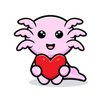 Personnage de dessin animé mignon oxolotl tenant coeur