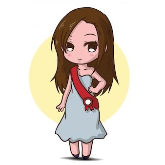 Personnage de dessin animé mignon pageant de beauté.