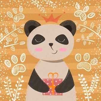 Personnage de dessin animé mignon panda princesse