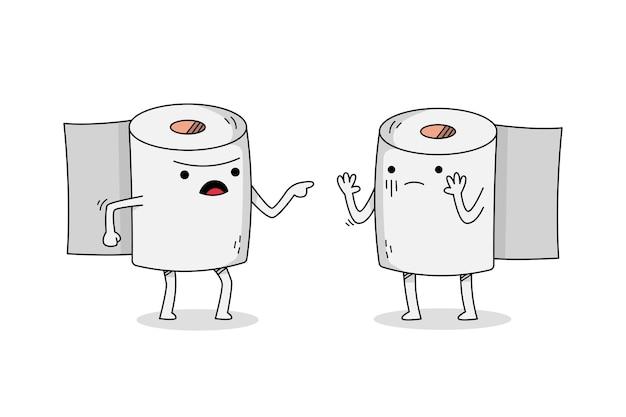 Personnage de dessin animé mignon papier toiler se disputant