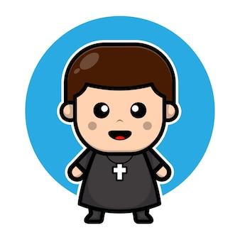 Personnage de dessin animé mignon pasteur