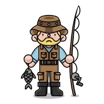 Personnage de dessin animé mignon pêcheur