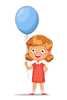 Personnage de dessin animé mignon petite fille avec ballon bleu