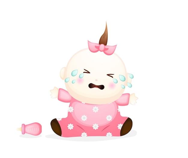 Personnage de dessin animé mignon petite fille qui pleure. illustration de l'élément bébé vecteur premium
