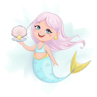 Personnage de dessin animé mignon petite fille sirène.