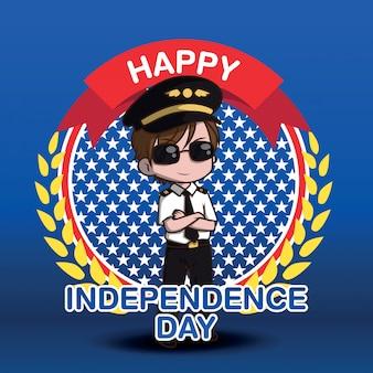 Personnage de dessin animé mignon pilote air force., heureux jour indépendant.