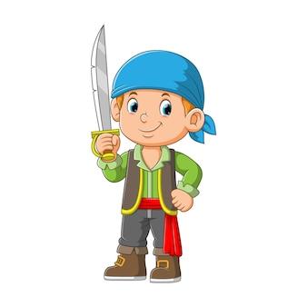Personnage de dessin animé mignon pirate tenant illustration de l'épée