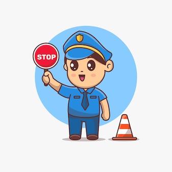 Personnage de dessin animé mignon de police kawaii tenant un panneau d'arrêt