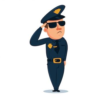Personnage de dessin animé mignon policier. officier de police en uniforme traditionnel. illustration de gens de vecteur isolé