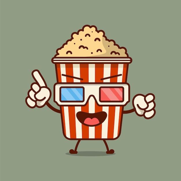 Personnage de dessin animé mignon de pop-corn en illustration vectorielle de seau rouge boîte cinéma snack