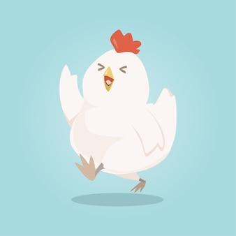 Personnage de dessin animé mignon poulet heureux