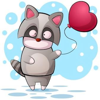Personnage de dessin animé mignon raccon. illustration de la montgolfière