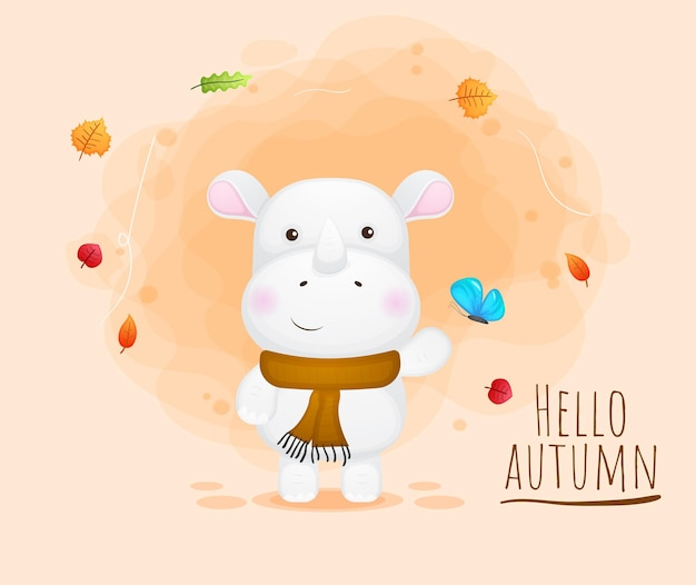 Personnage de dessin animé mignon rhinocéros automne