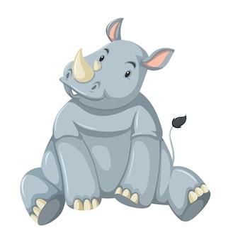 Personnage de dessin animé mignon rhinocéros isolé sur fond blanc